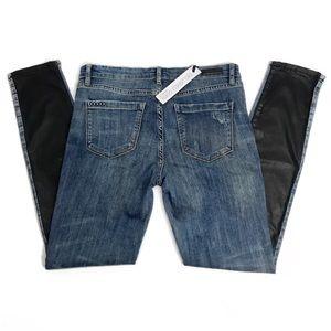 BLANKNYC• Denim & Leather Skinny Jeans Size 28 NWT